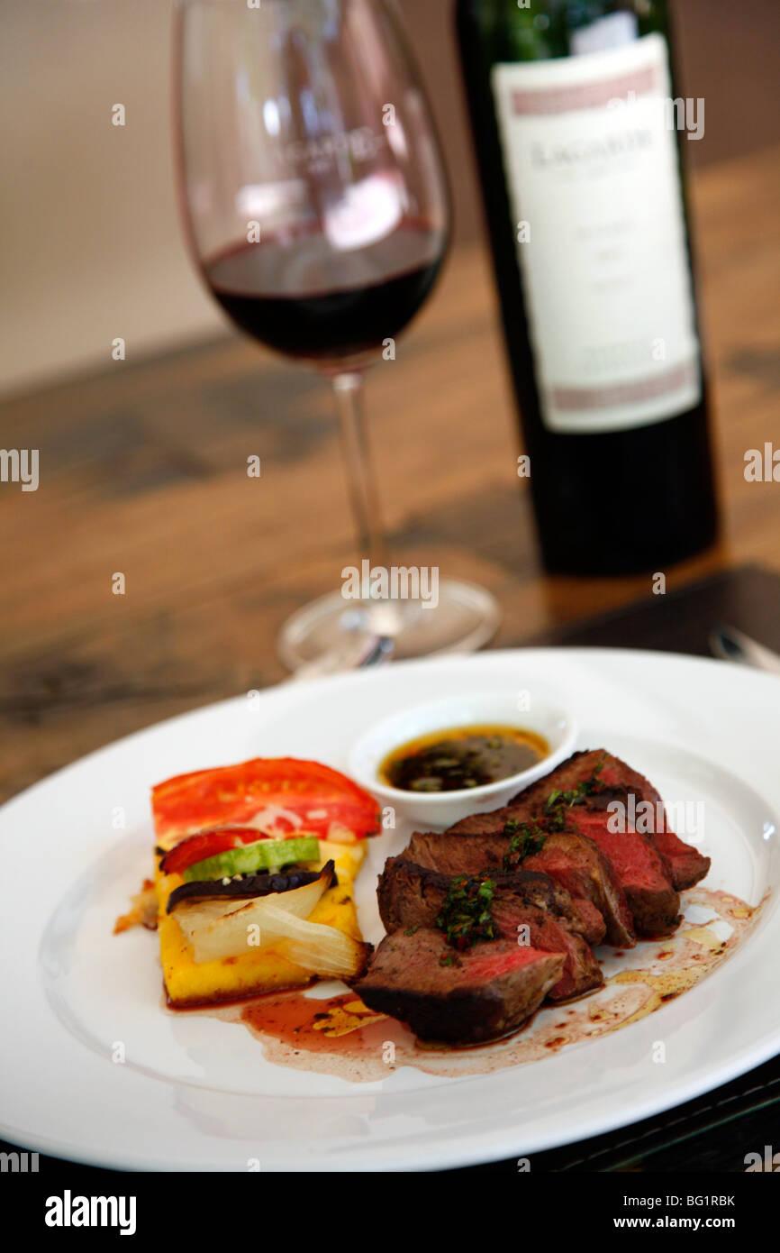 Filet mignon dish at the upmarket restaurant of Lagarde winery, Lujan de Cuyo, Mendoza, Argentina, South America - Stock Image
