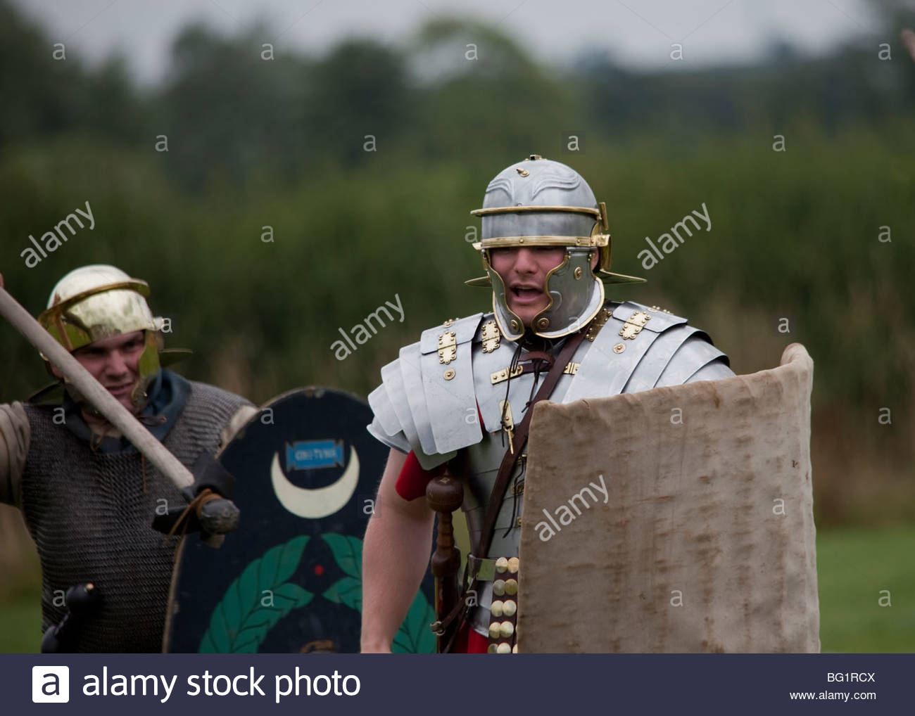 roman soldiers training - Stock Image