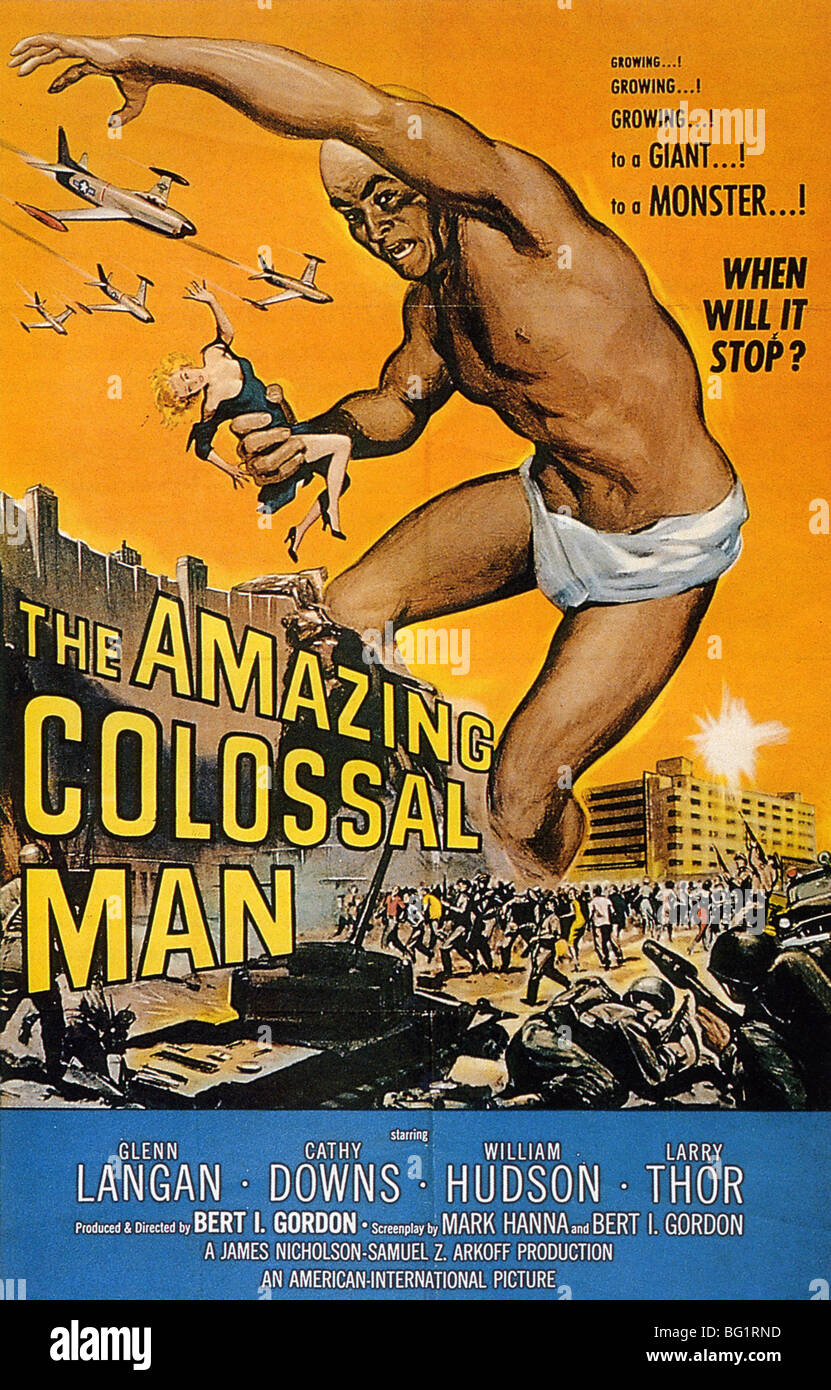 THE AMAZING COLOSSAL MAN - Poster for 1957 American International Pictures film - Stock Image