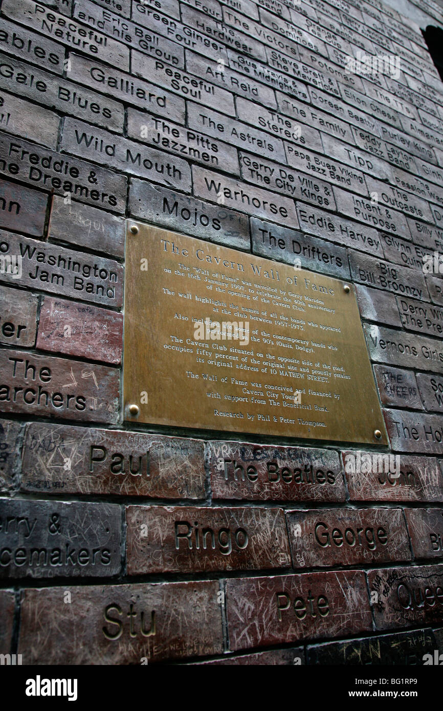 The Cavern Wall of Fame in Matthew Street, Liverpool, Merseyside, England, United Kingdom, Europe - Stock Image