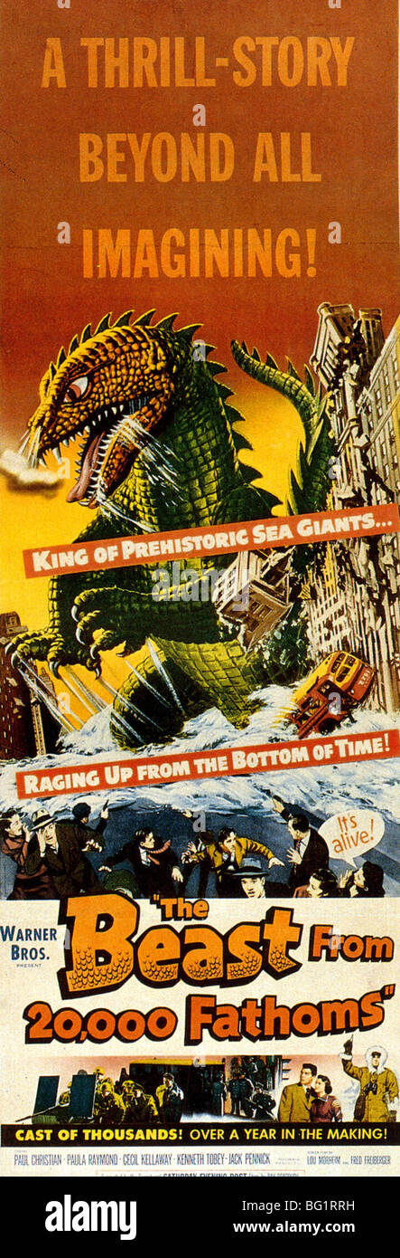 THE BEAST FROM 20,000 FATHOMS - Poster for 1953 Warner Brothers film - Stock Image