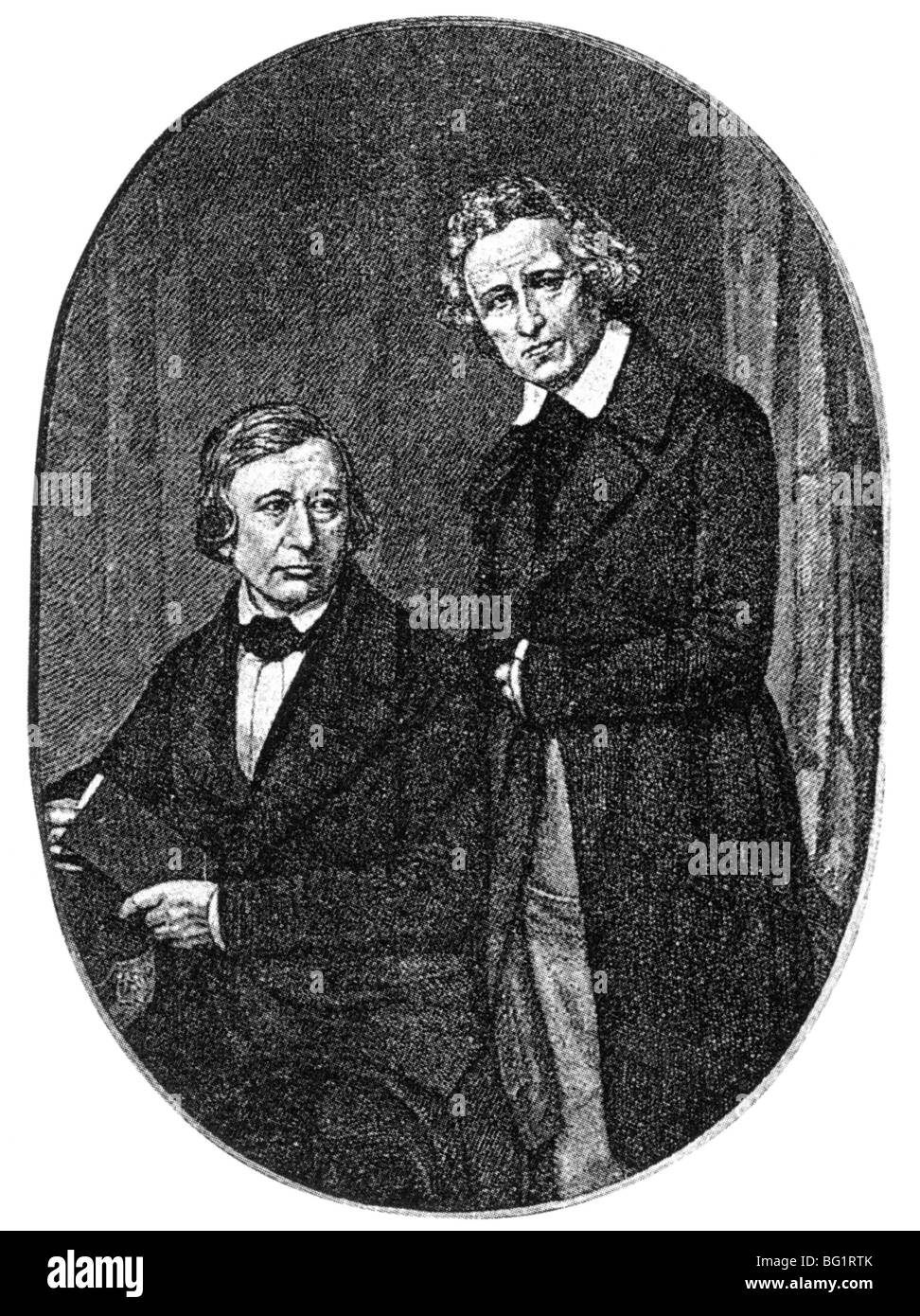 BROTHERS GRIMM  German academics who collected folk tales and researched the German language. Wilhelm Grimm at left - Stock Image