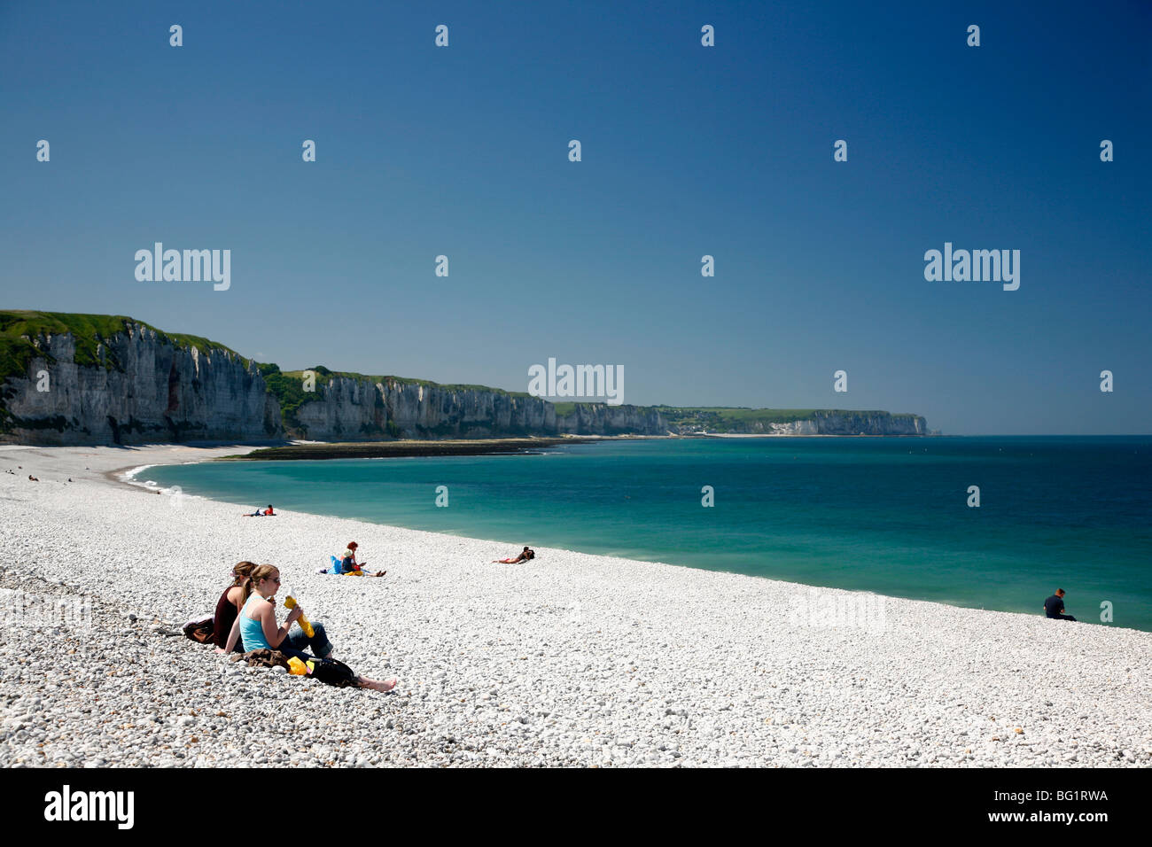 The beach at Fecamp, Cote d'Albatre, Normandy, France, Europe - Stock Image