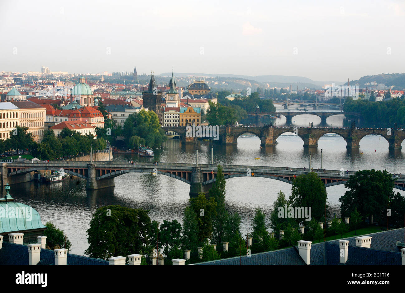 View of the River Vltava and bridges from Letna Hill, Prague, Czech Republic, Europe Stock Photo