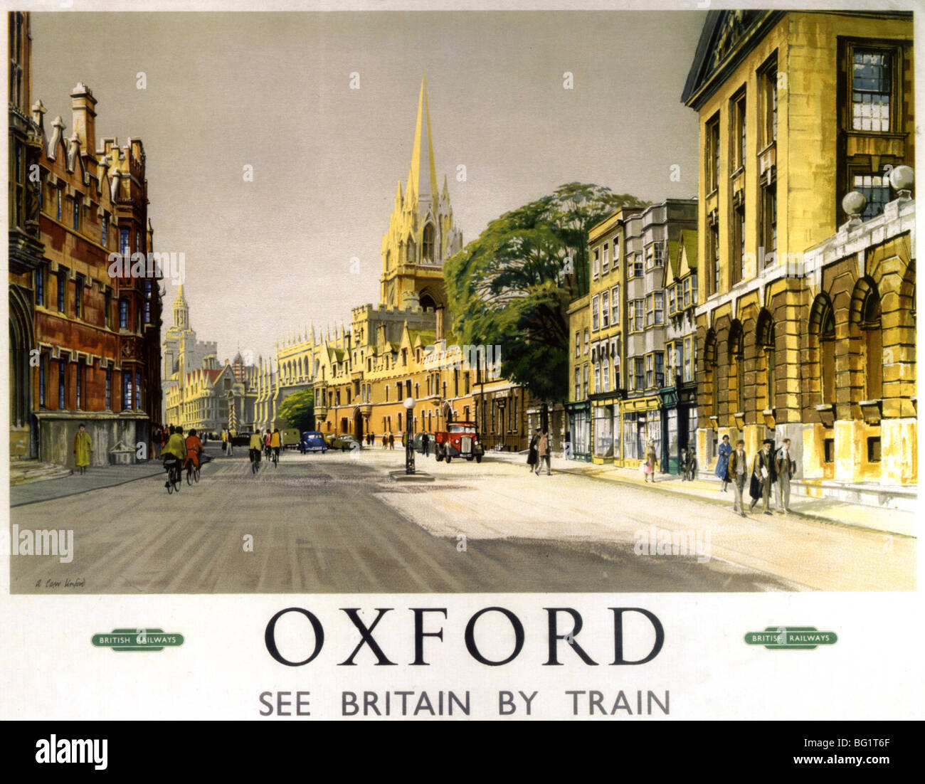 OXFORD in the 1930s as shown on a British railway poster - Stock Image