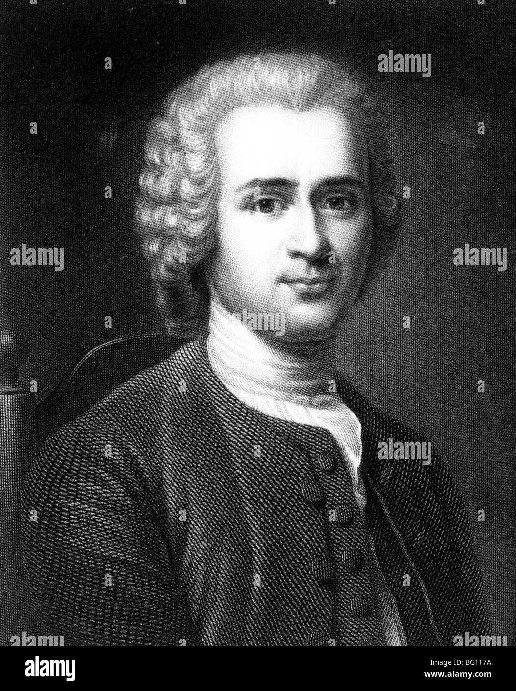JEAN JACQUES ROUSSEAU - French political philosopher and  educationalist  (1712-78) - Stock Image