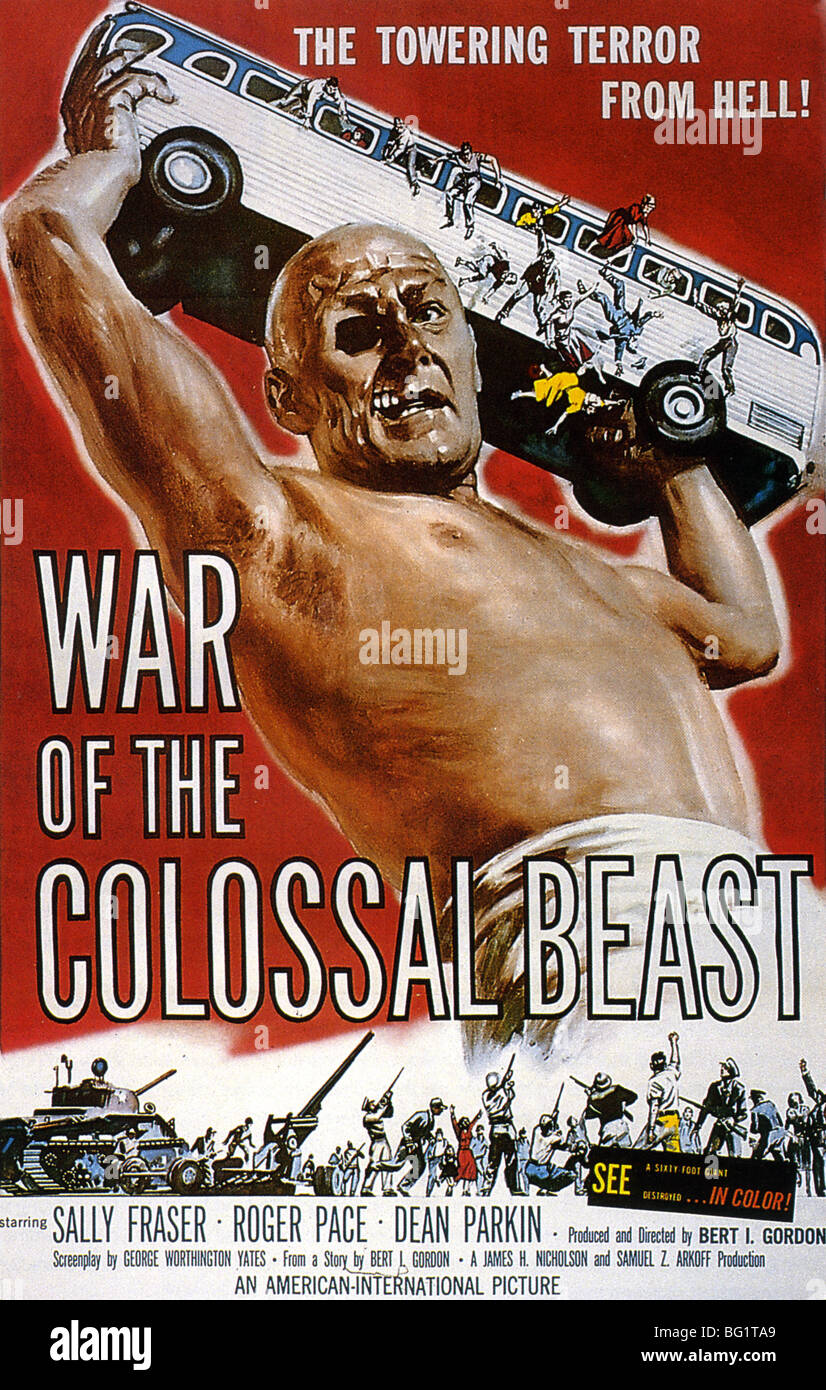 WAR OF THE COLOSSAL BEAST Poster for 1958 American International Pictures film - Stock Image