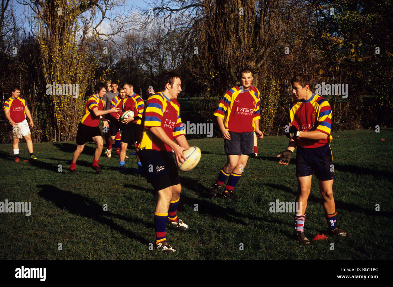 Members Of the Buxton Under 17 Rugby Club Warming Up Before A Match In Congleton Park Stock Photo
