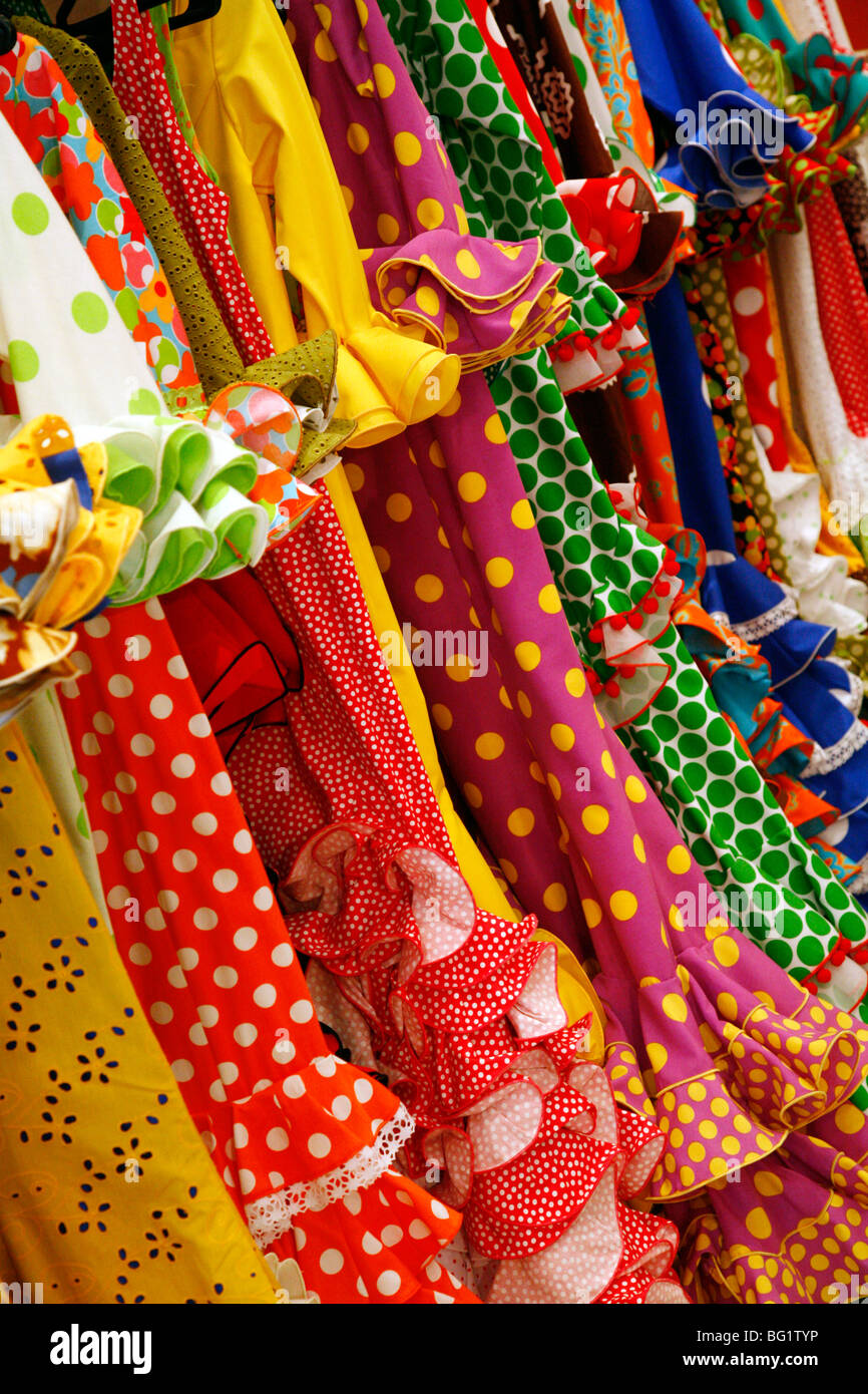 Traditional flameco dresses, Seville, Andalucia, Spain, Europe - Stock Image