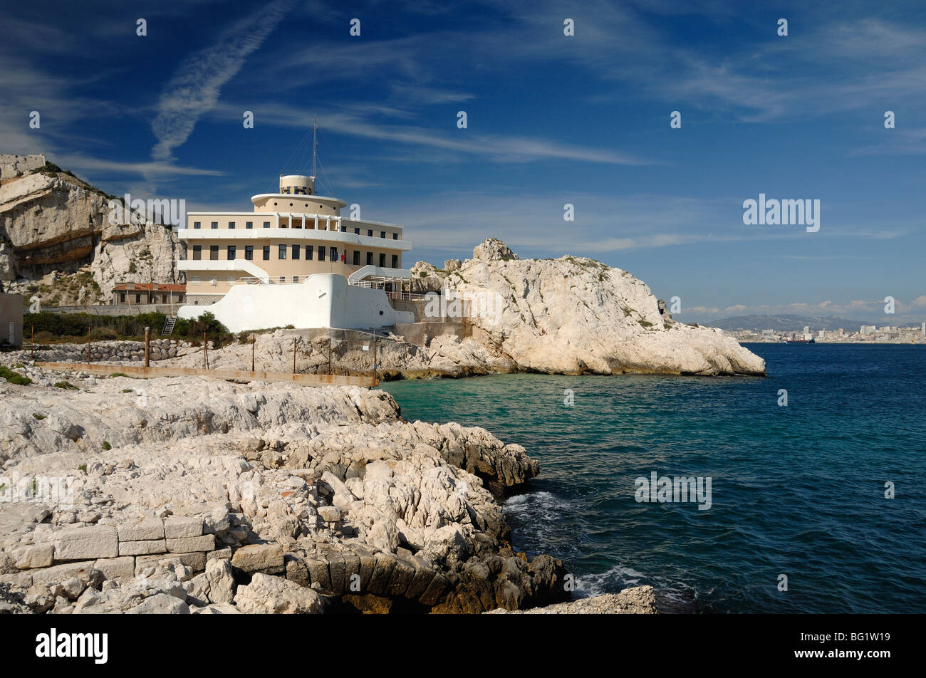 Boat-Shaped Pilotage Station in Shape of Ship or Boat on Ratonneau Island, Frioul, Marseille or Marseilles Bay, - Stock Image