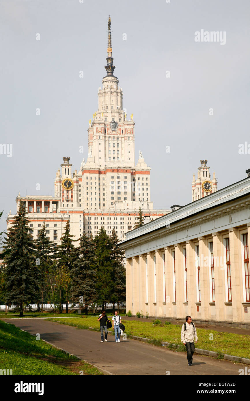 The Stalinist State University building, one of Seven Sisters which are seven Stalinist skyscrapers, Moscow, Russia, - Stock Image