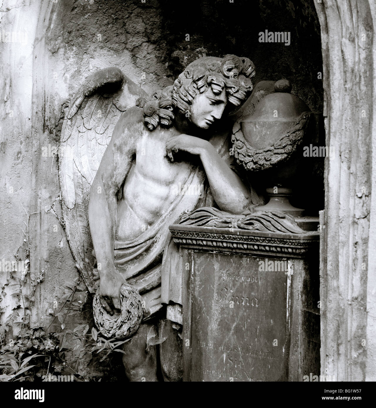 World Travel. Olsany Olsanske Cemetery angel in the ancient city of Prague Praha in the Czech Republic in Eastern - Stock Image