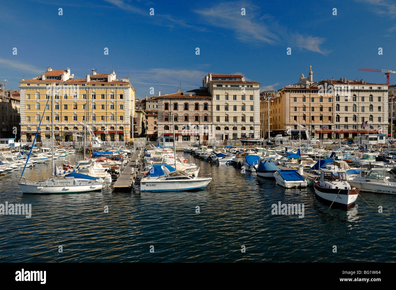 Quai du Rive Neuve Quay, Old Port or 'Vieux Port', with Yachts in Marina, Harbour or Harbor, Marseille or - Stock Image