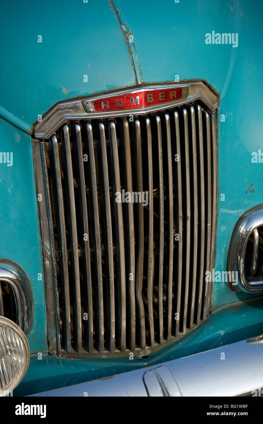 Radiator grill and badge of a British 1950s Humber Hawk saloon car - Stock Image