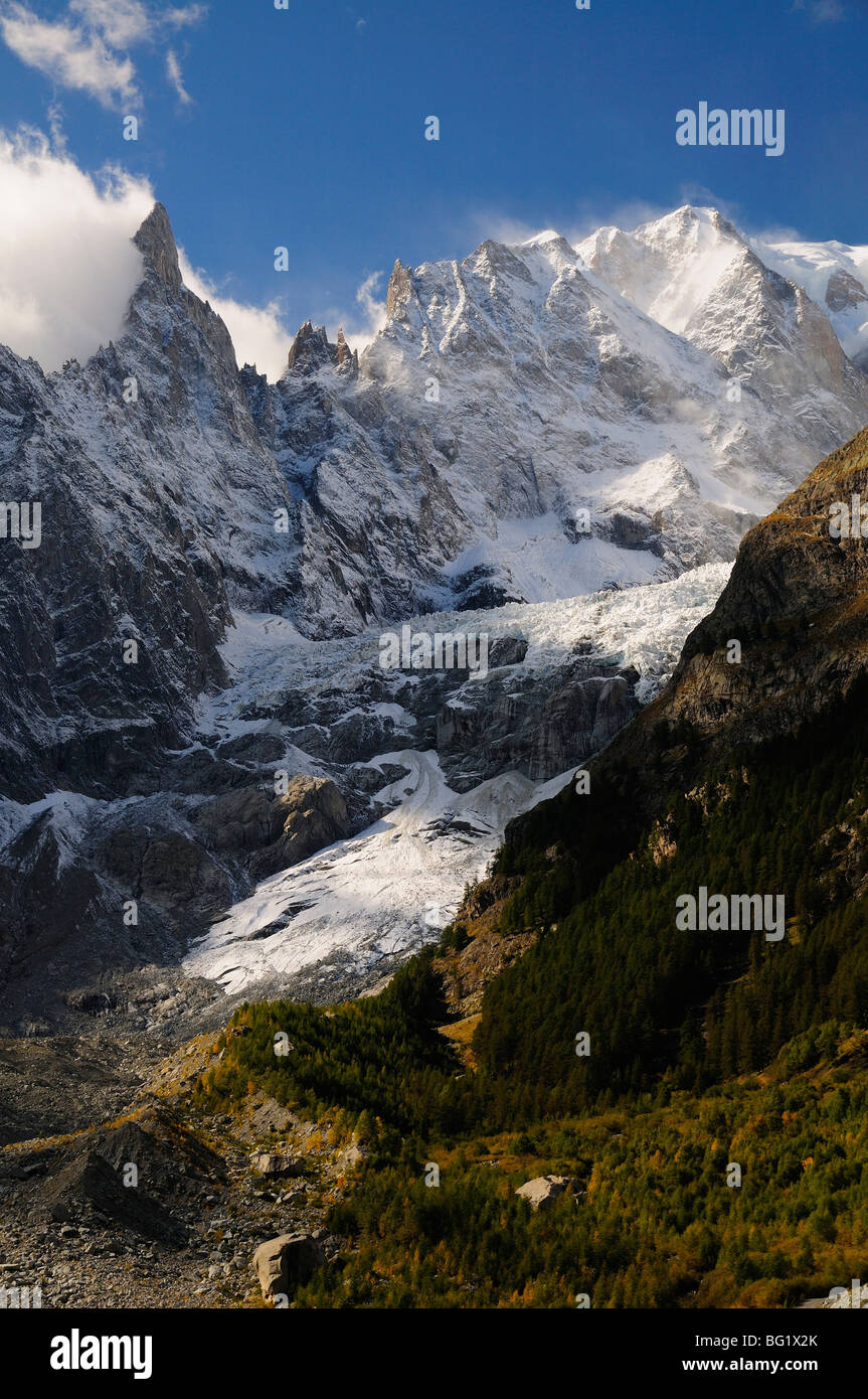 Monte Bianco (Mont Blanc) seen from Vallee d'Aosta, Suedtirol, Italy, Europe - Stock Image