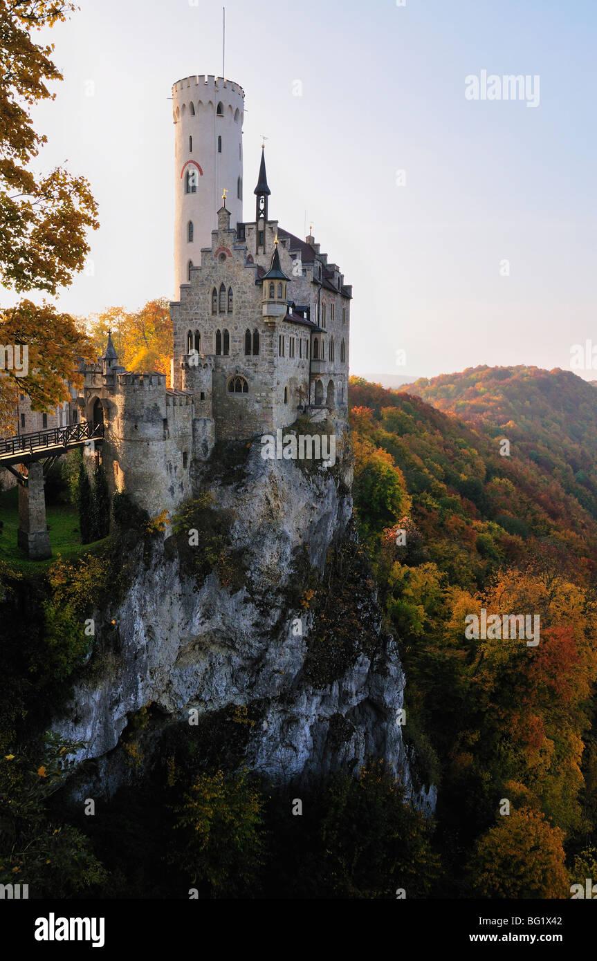 Castle Liechtenstein, Schwaebische Alb, Baden-Wurttemberg, Germany, Europe - Stock Image