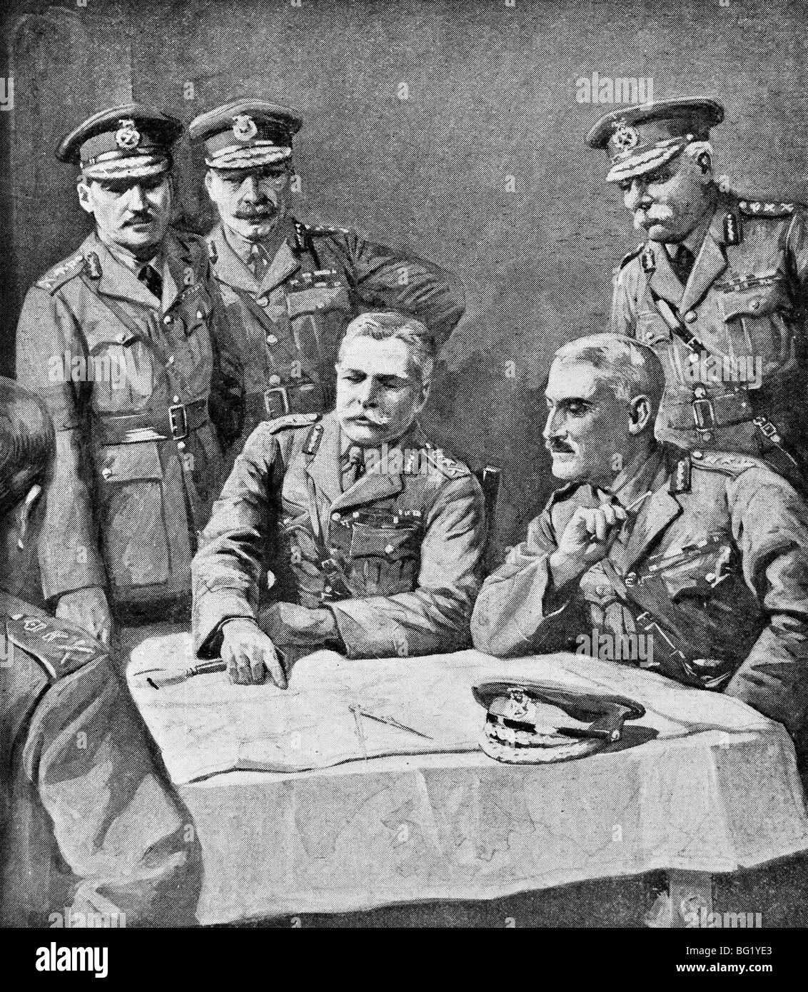 Contemporary World War One illustration of Field Marshal Douglas Haig and British Generals planning the Third Battle - Stock Image
