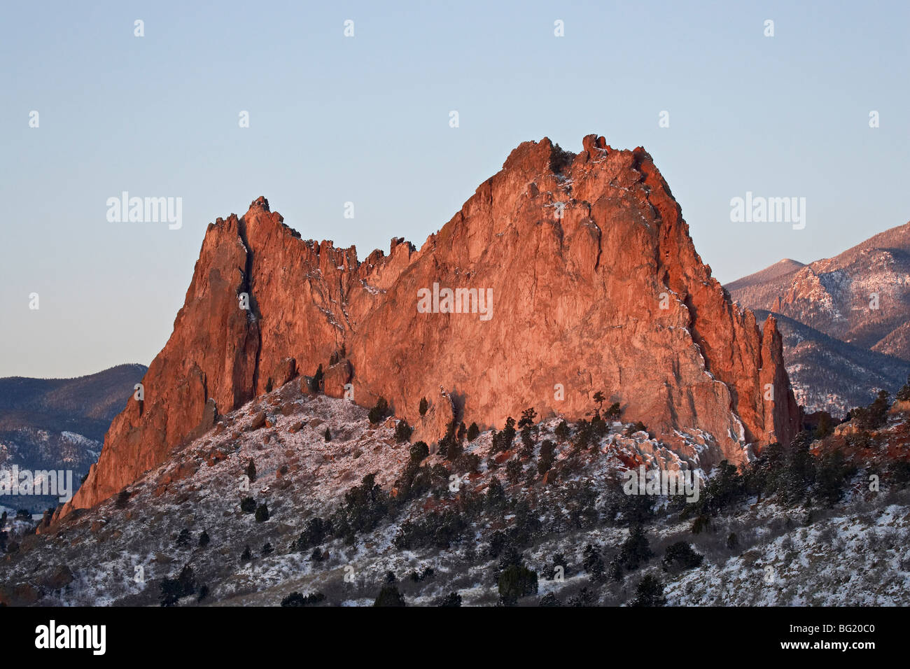 Cathedral Rock with snow, Garden Of The Gods, Colorado Springs, Colorado, United States of America, North America - Stock Image