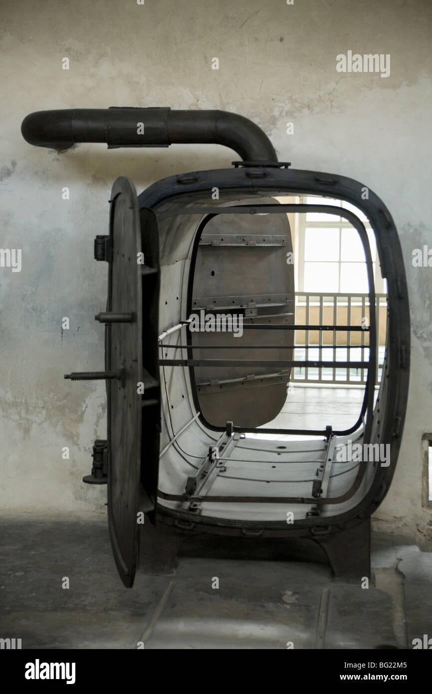 Laundry steam cleaner / autoclave in the laundry at Birkenau (Auschwitz II - Birkenau) Nazi death camp. Oswiecim, - Stock Image