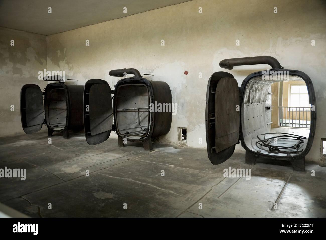 Laundry sterilising / autoclaves in the laundry at Birkenau (Auschwitz II - Birkenau) Nazi death camp. Oswiecim, - Stock Image