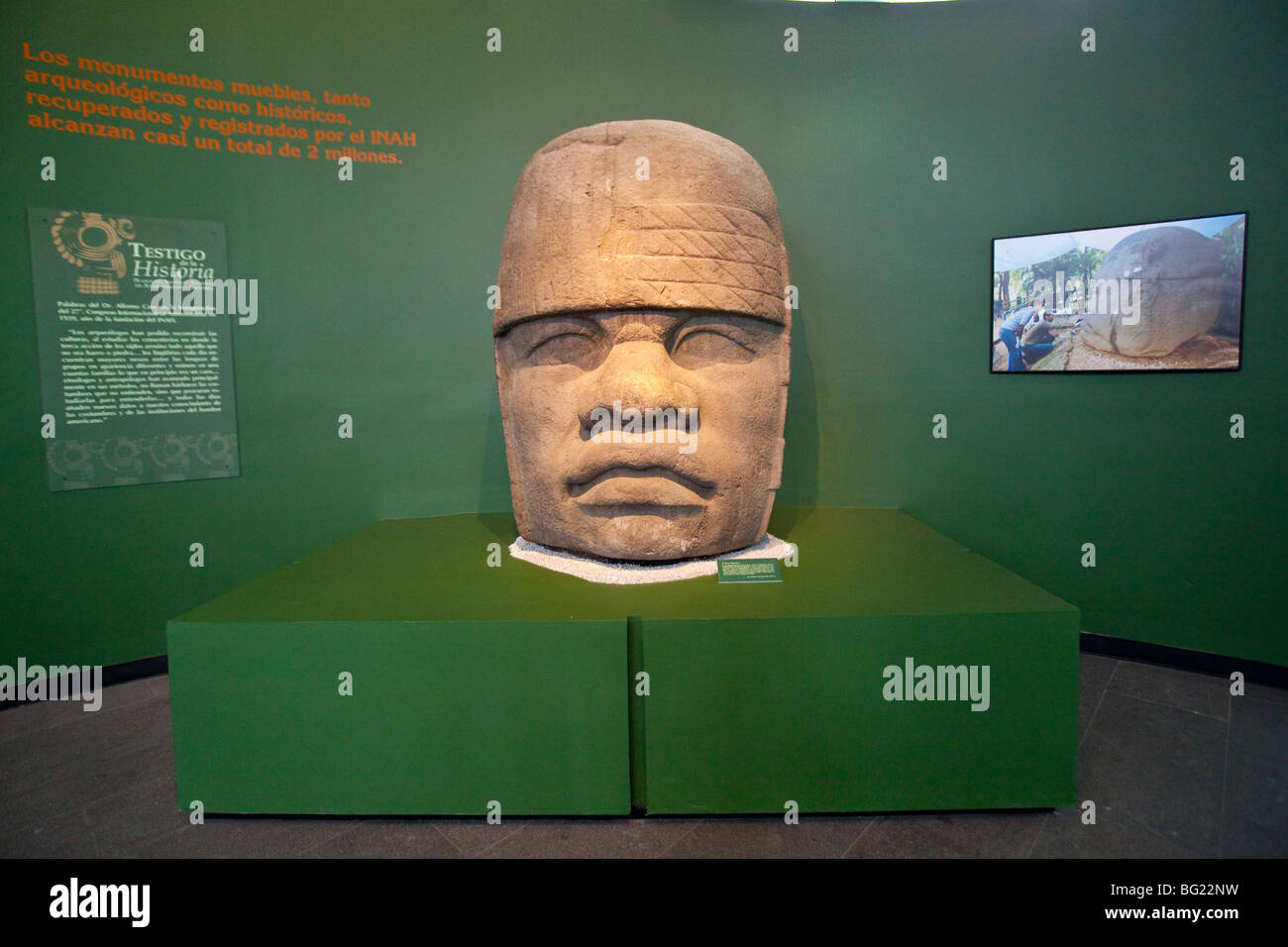 Olmec Colossal Head Sculpture National Museum of Anthropology Exhibit in Mexico City - Stock Image