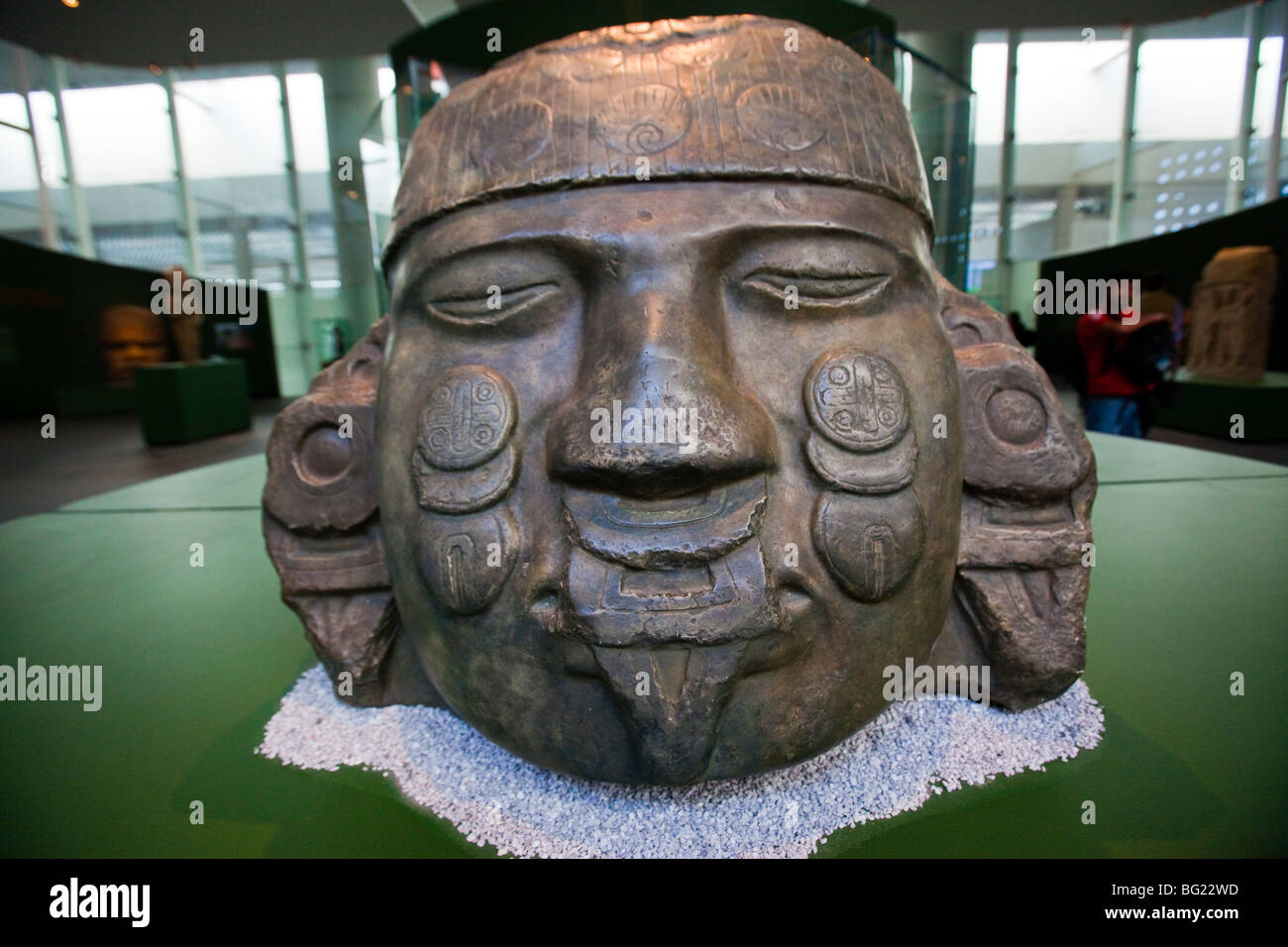 Aztec Colassal Sculpture of Coyolxauhqui National Museum of Anthropology Exhibit in Mexico City - Stock Image