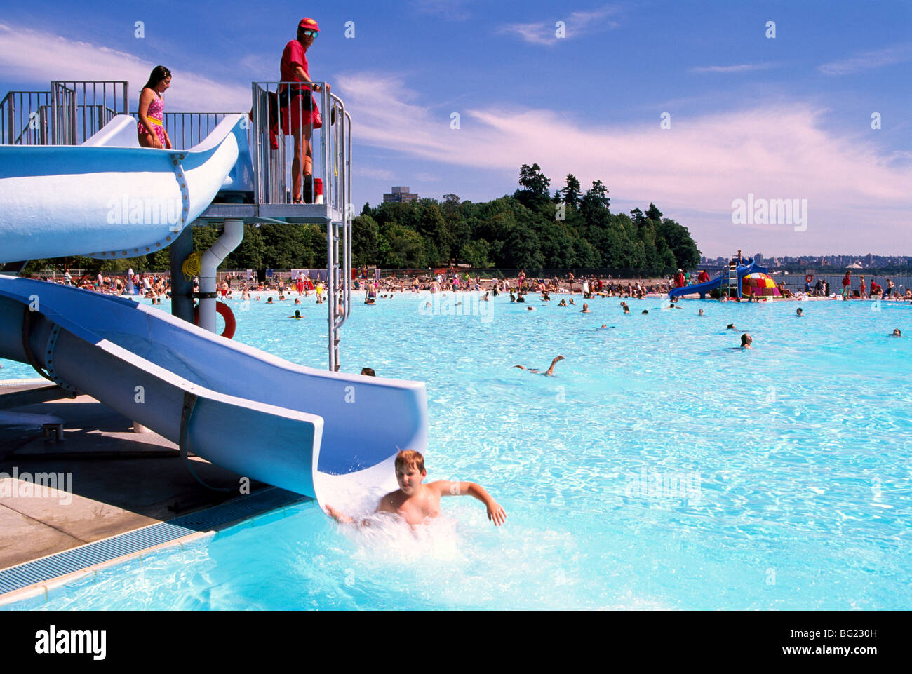 Children 39 s water slide at outdoor swimming pool stanley - Free public swimming pools near me ...