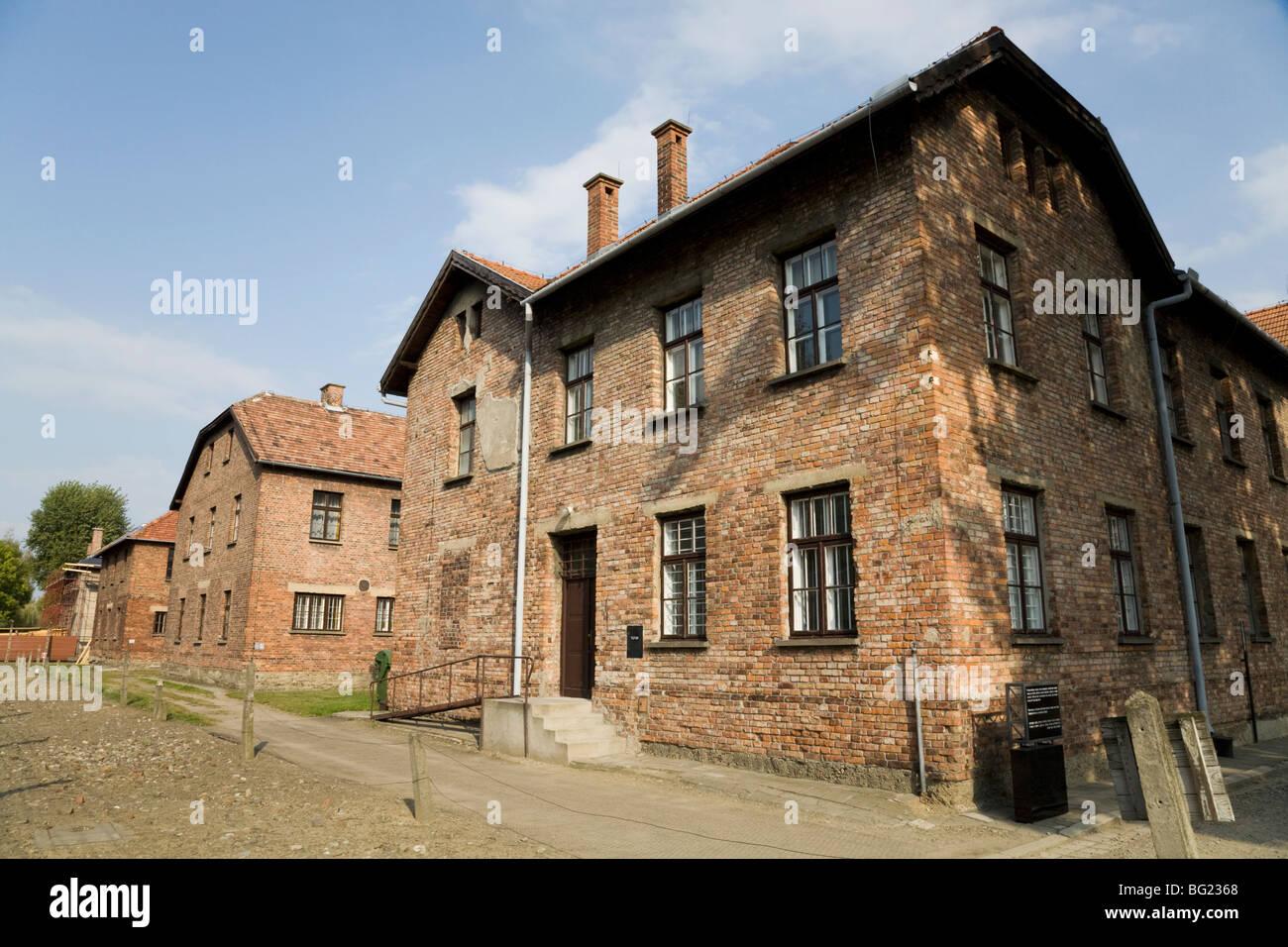 Prisoner accommodation blocks at the Auschwitz Nazi death camp in Oswiecim, Poland. - Stock Image