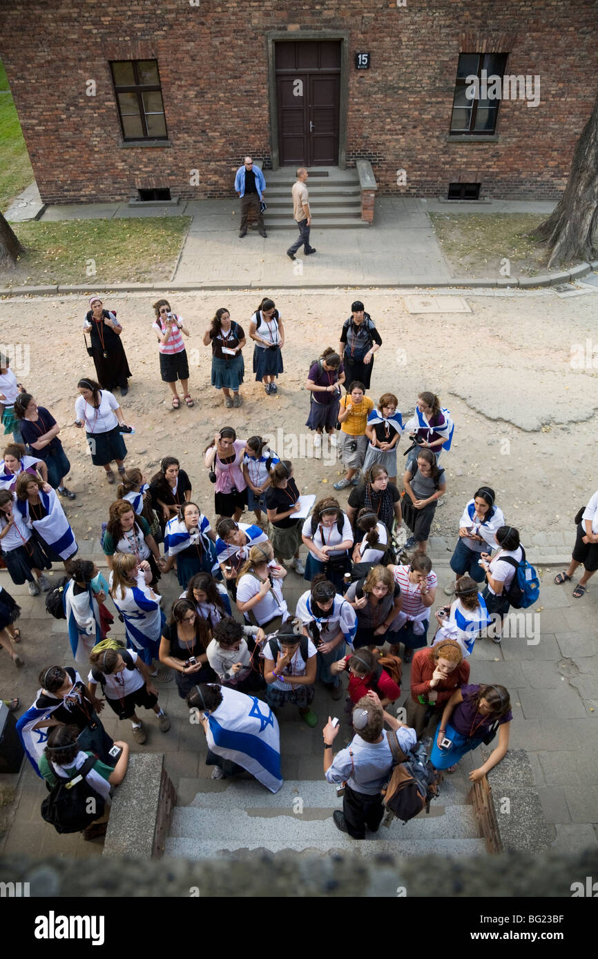 View of Jewish school / college children / students (from a high window) group / party on a tour of Auschwitz Nazi - Stock Image