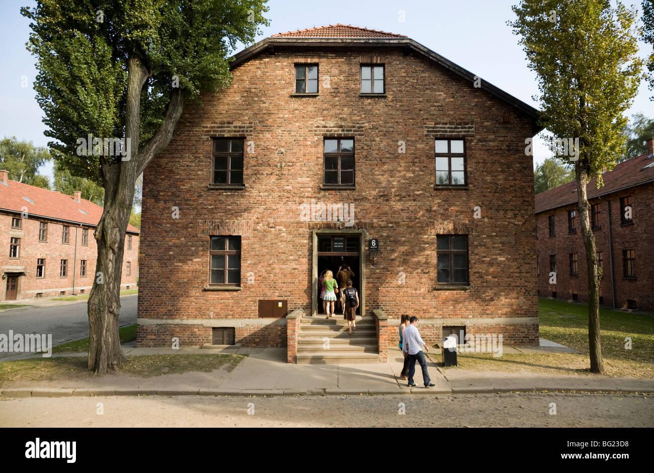 Prisoner accommodation block at the Auschwitz Nazi death camp in Oswiecim, Poland. - Stock Image