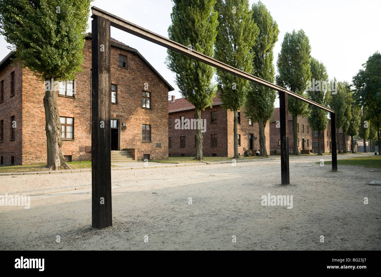 The gallows rail where prisoners were hanged / hung by the SS. Auschwitz camp. Poland. - Stock Image