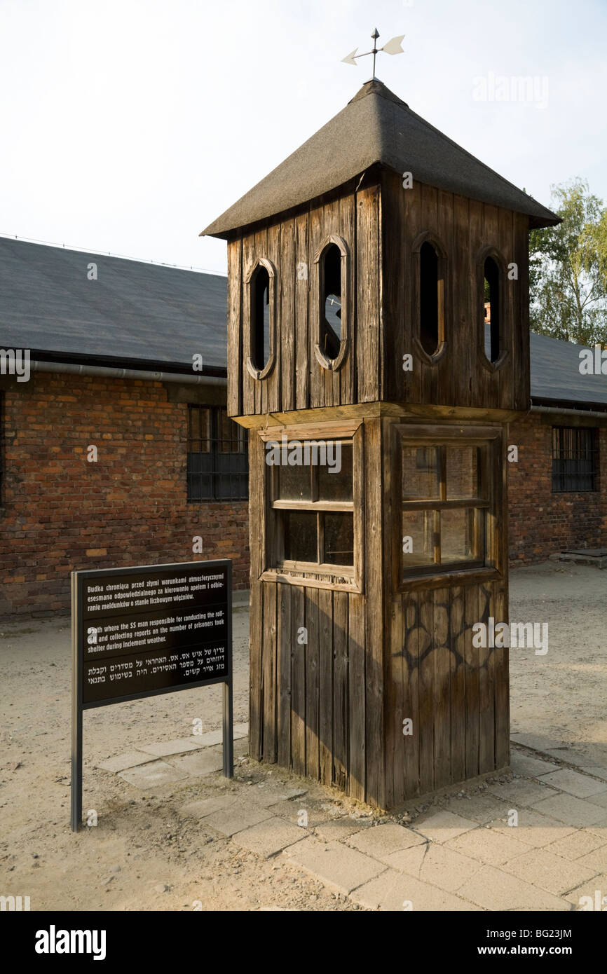 Booth / watch tower where SS guard conducting a roll call would shelter during bad weather, at Auschwitz Nazi death - Stock Image