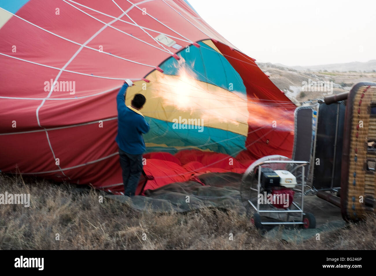 Pre-flight hot air balloon preparation in Cappadocia, Turkey with Kapadokya Balloons - Stock Image