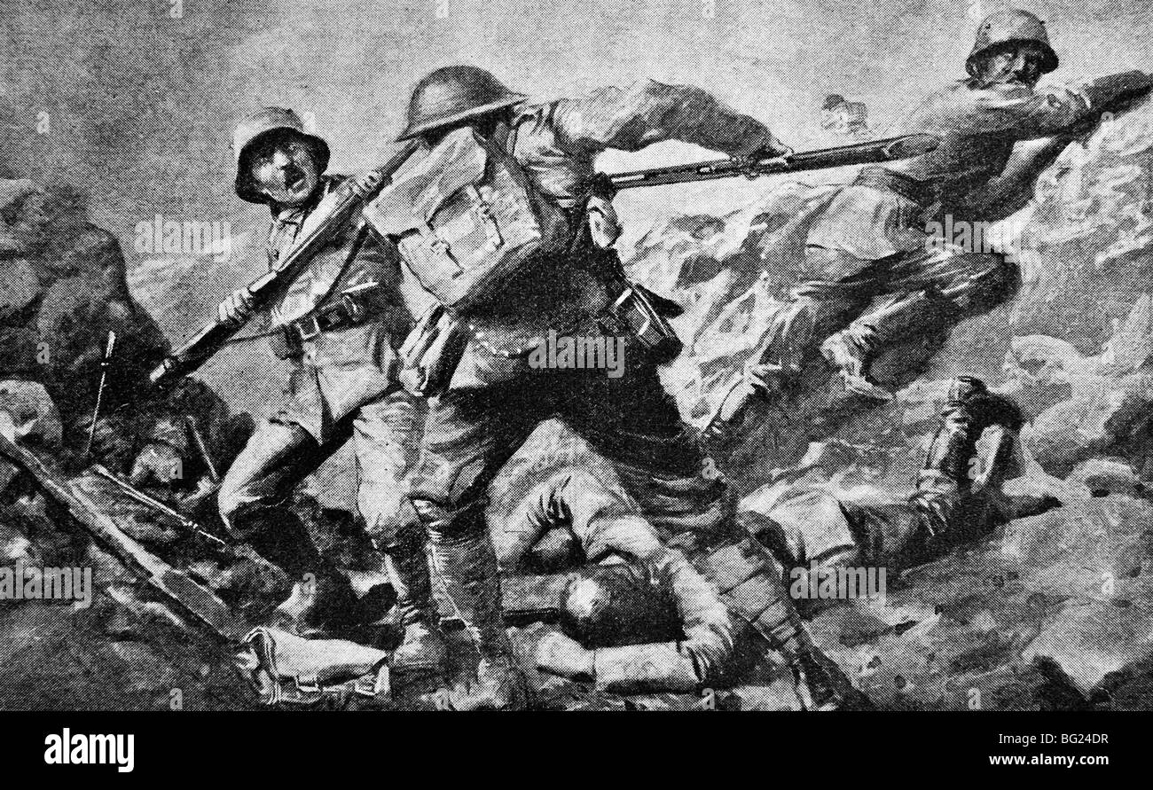 Contemporary WW1 illustration of a British private in hand to hand combat with German soldiers at Ypres in Flanders - Stock Image