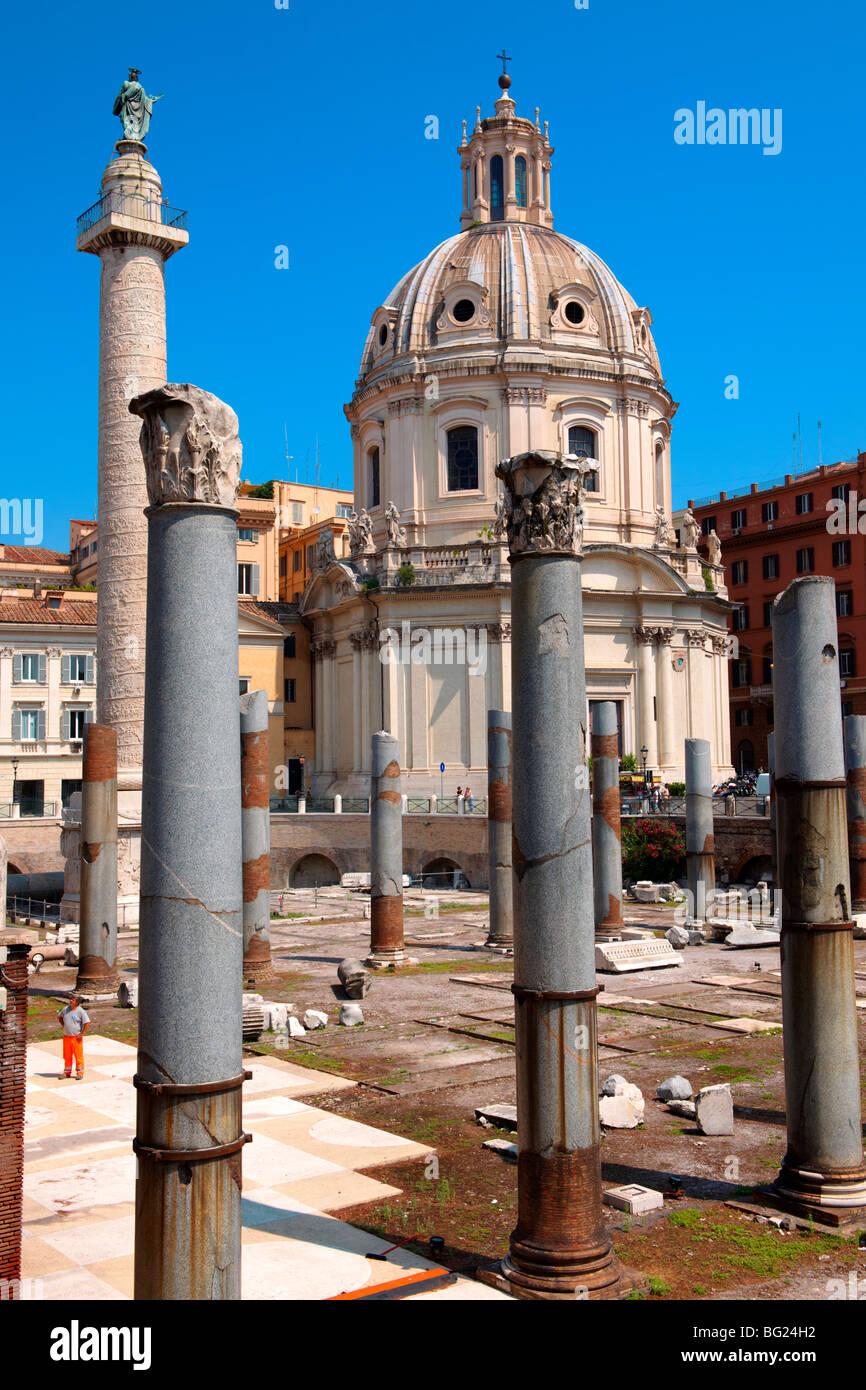 Columns of Emperors Trajan's Forum and Trajans Column . Rome - Stock Image