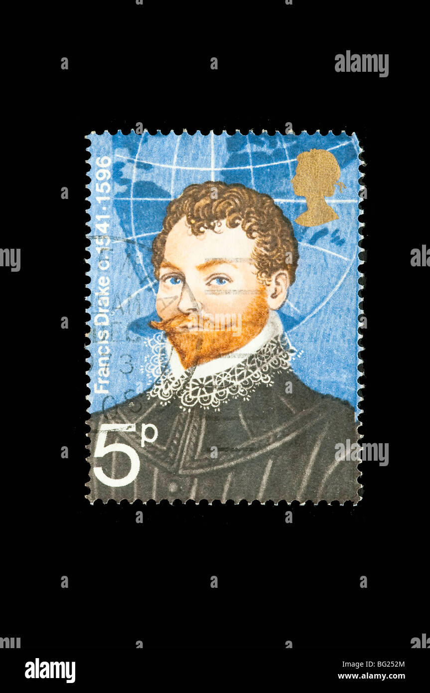 Francis Drake in a British stamp - Stock Image