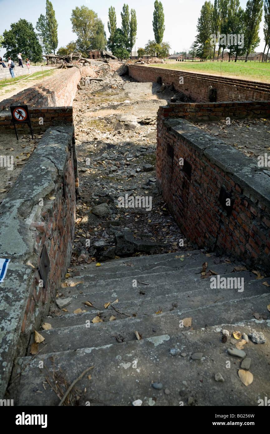 The gas chambers at Birkenau (Auschwitz II - Birkenau) Nazi death camp in Oswiecim, Poland. The nazis destroyed - Stock Image