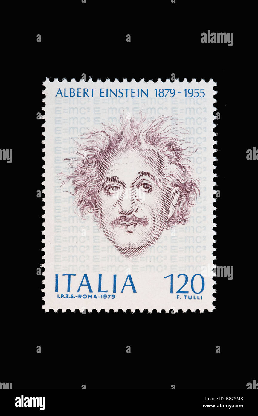 Albert Eistein in a 1979  italian stamp - Stock Image