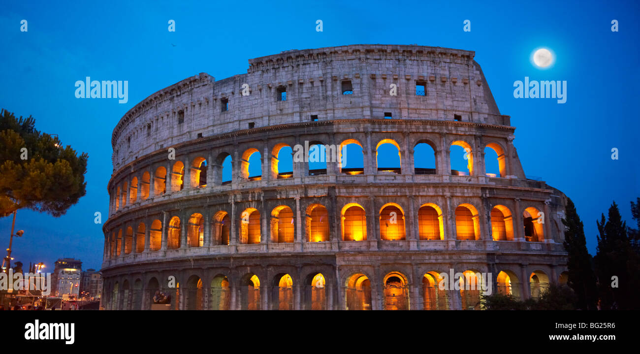 Coloseum ( Colosseo) at night . Rome - Stock Image