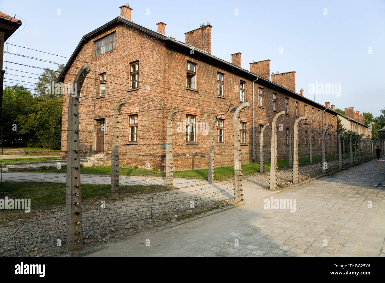 Camp administration block in barrack building outside the perimeter fence at the Auschwitz Nazi death camp in Oswiecim, - Stock Image