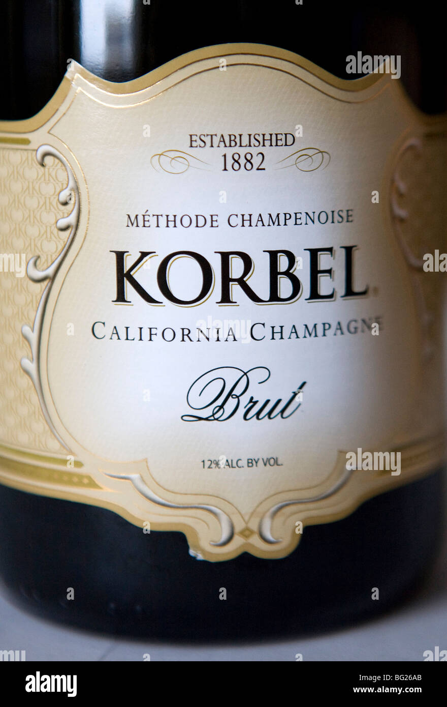 Bottles of California Champagne. California sparkling wine makers are currently the only producers in the world - Stock Image