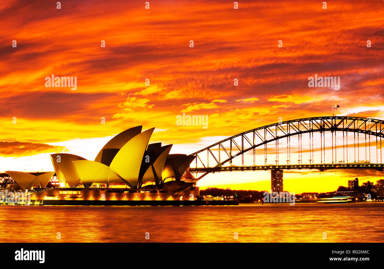 sydney opera house and the sydney harbour bridge at sunset australia BG26MC - Get Images Of Sydney Harbour Bridge And Opera House  Background