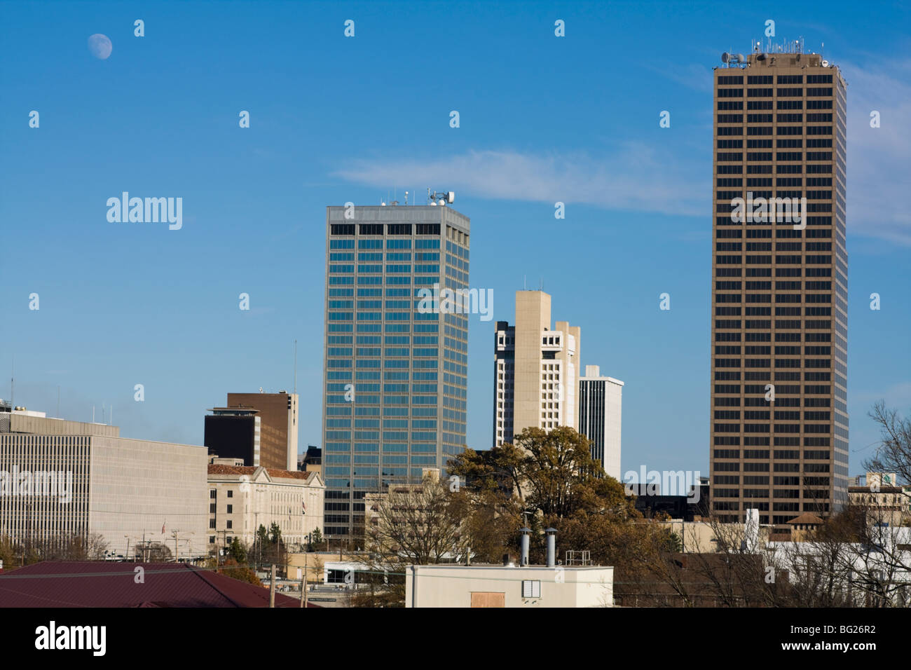 Moon over Little Rock - Stock Image