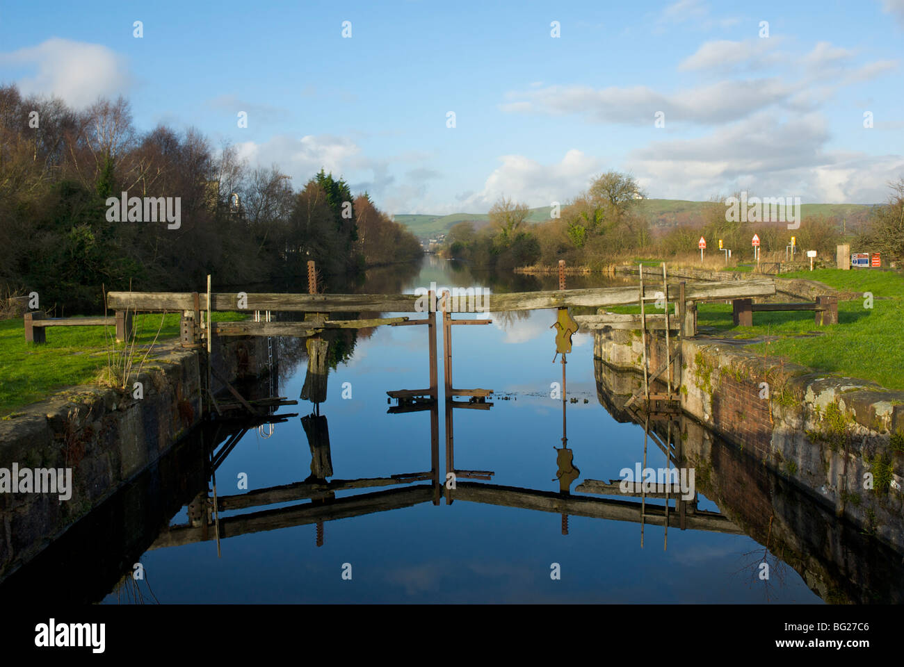 The derelict lock gates of the Ulverston Canal, Cumbria, England UK - Stock Image