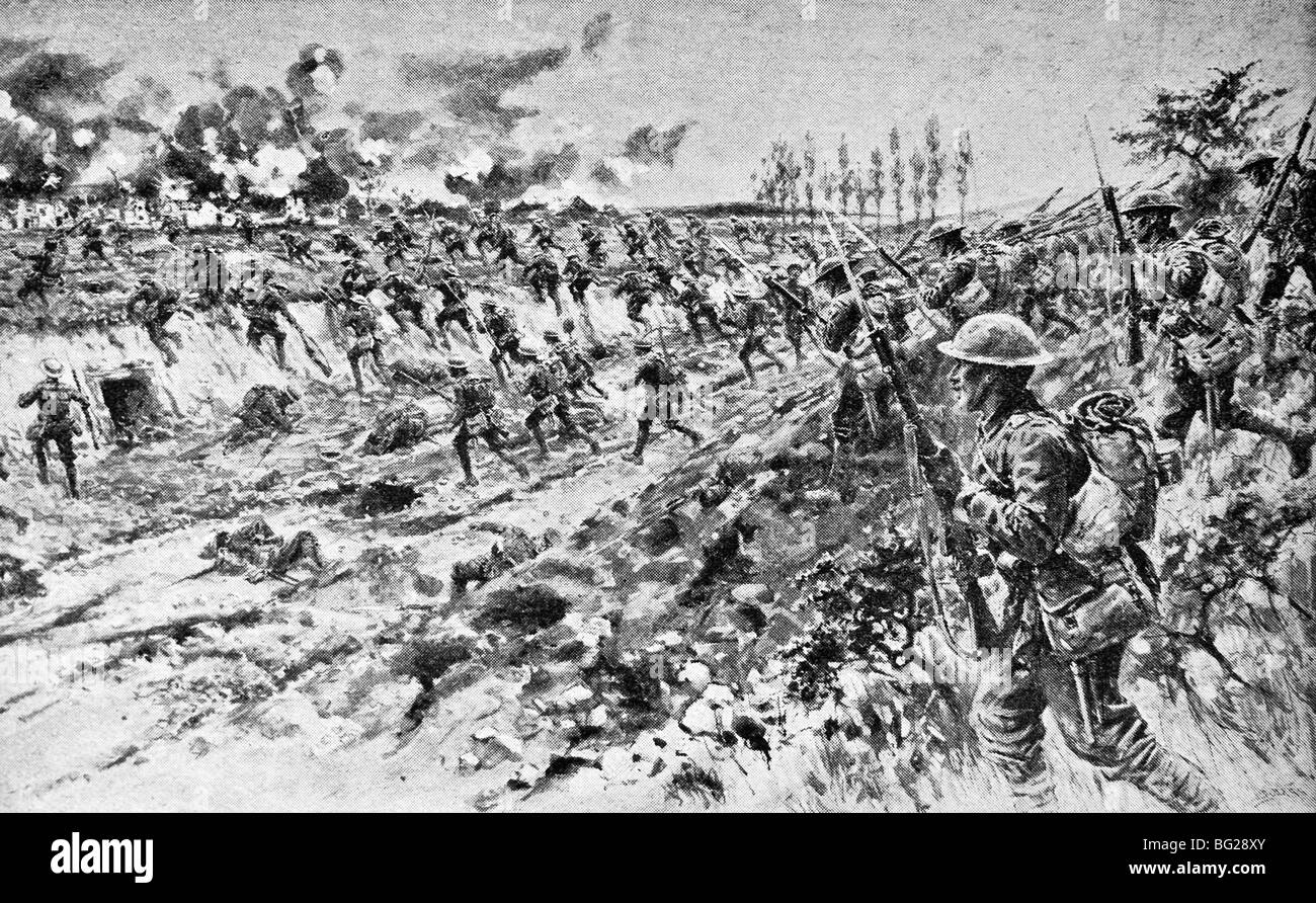 Contemporary WW1 illustration of British troops capturing the French village of Montauban in the Battle of the Somme - Stock Image