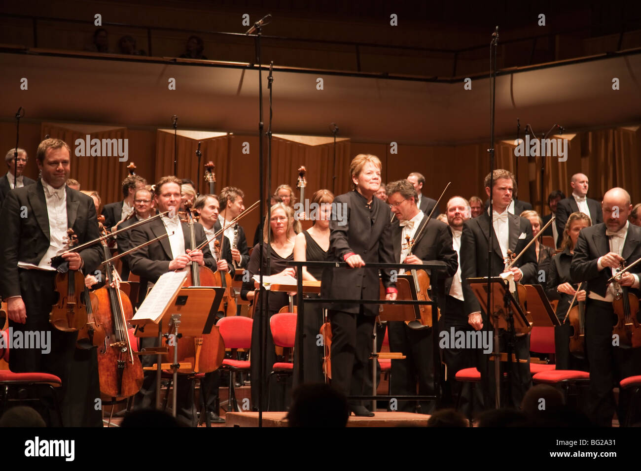Swedish Radio symphony orchestra with conductor Marin Alsop - Stock Image