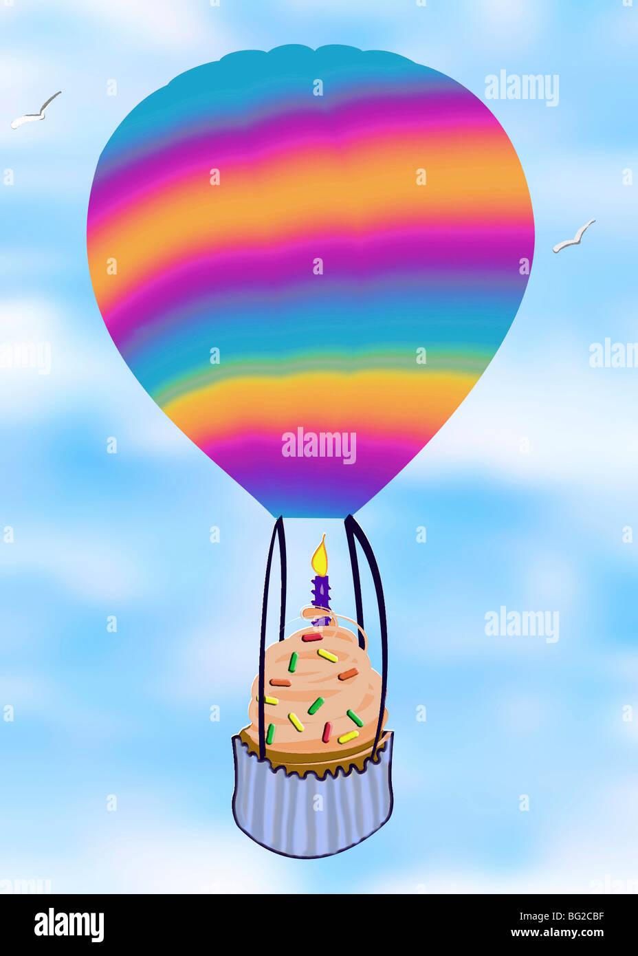 Birthday Cupcake In A Hot Air Balloon