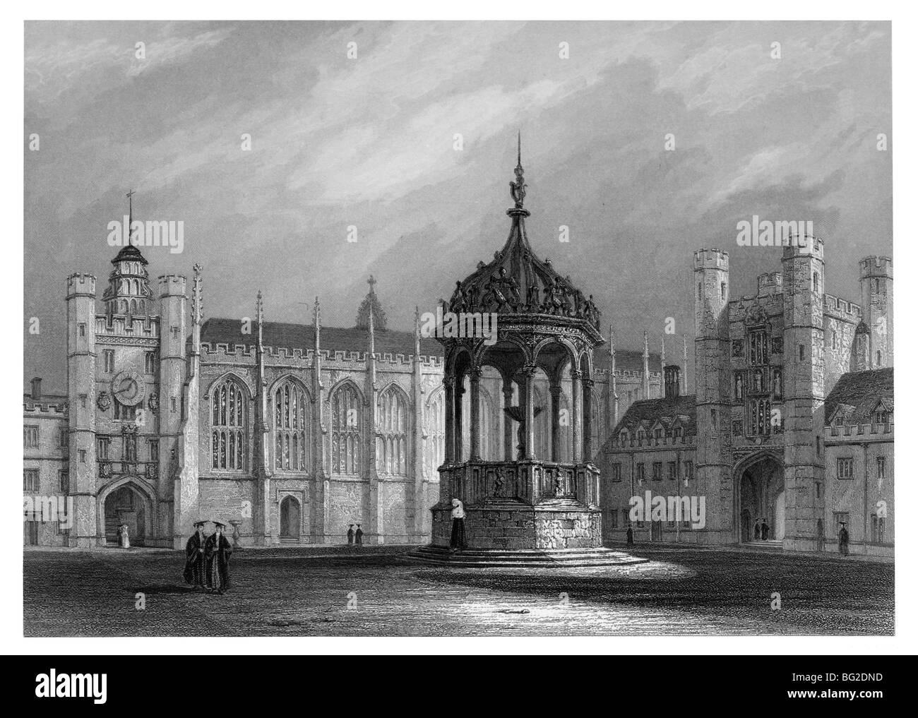 Trinity College, Cambridge – Great Court - Stock Image
