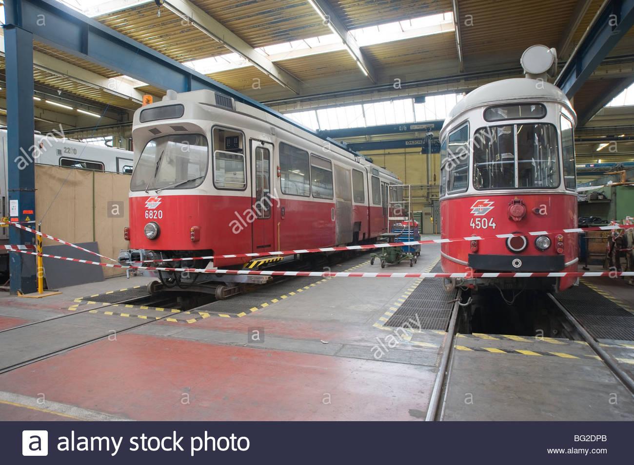 Wien, Hauptwerkstätte der Wiener Linien - Vienna, Main Workshop of Vienna Transport Authorities - Stock Image