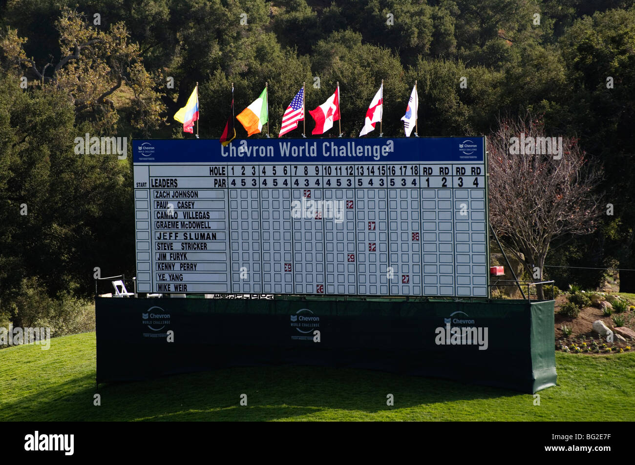 Scoreboard for the Pro Am round at the Chevron World Challenge at Sherwood Country club. - Stock Image